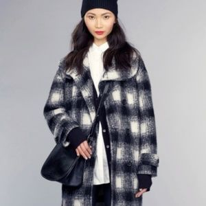 Banana republic double breasted plaid cocoon coat